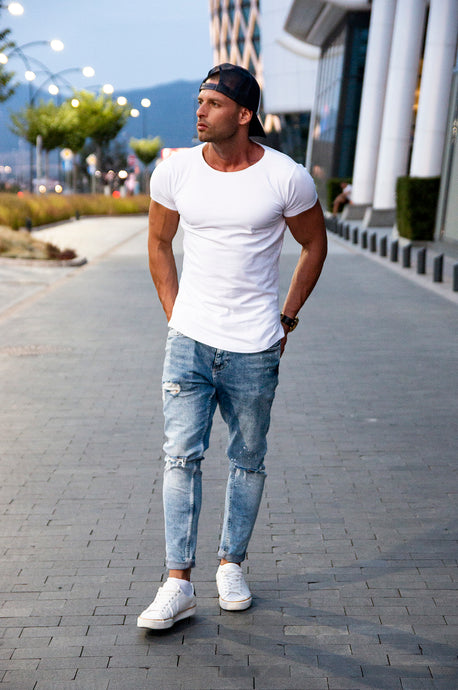 Plain White Mens T-shirt - Longline
