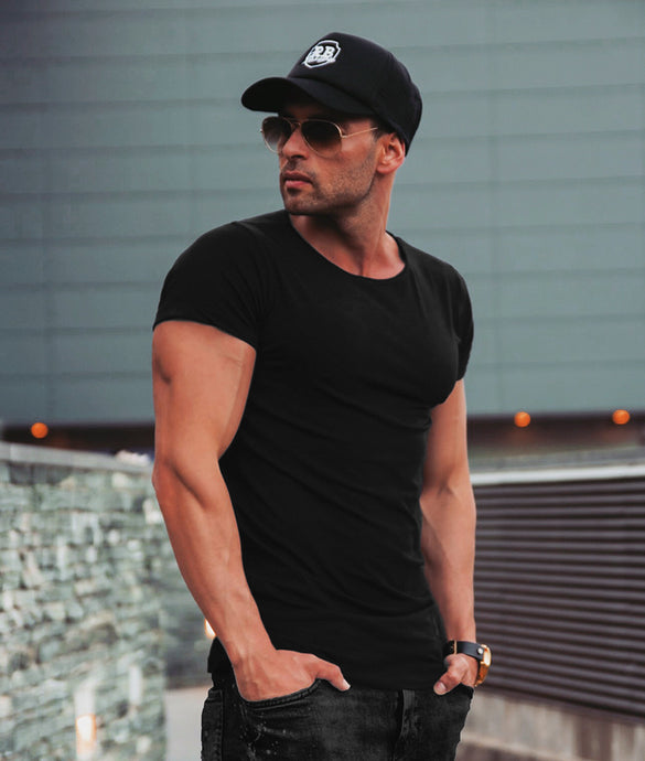Men's Round Neck Black T-shirt Long Fit