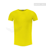Men's Plain Electric Green Round Neck T-shirt - Long Fit Tee