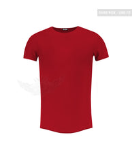 Men's Plain RED Round Neck T-shirt - Long Fit Tee