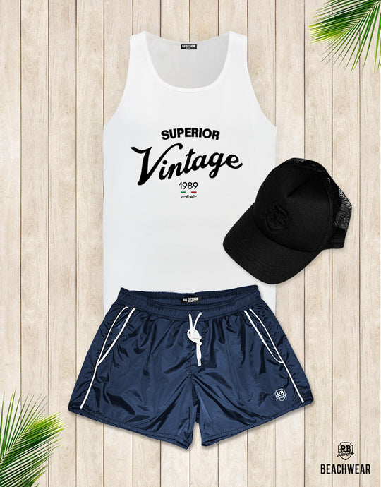 Bundle 3 - Dark Blue Beach Shorts + Black Hat + Tank Top MD934