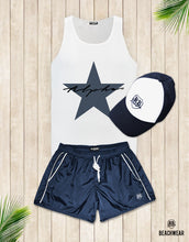 Bundle 3 - Dark Blue Beach Shorts + Blue Hat + Tank Top MD885