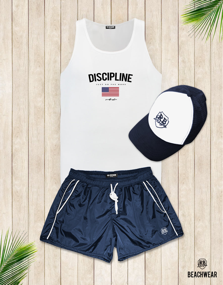 Bundle 3 - Dark Blue Beach Shorts + Blue Hat + Tank Top MD933