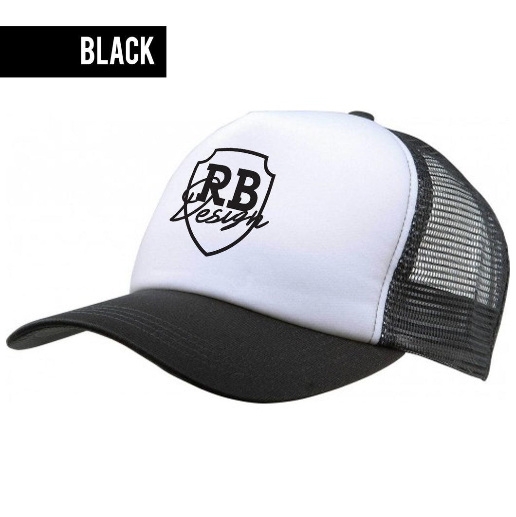 Black/White Beach Hat With RB Design Logo Unisex