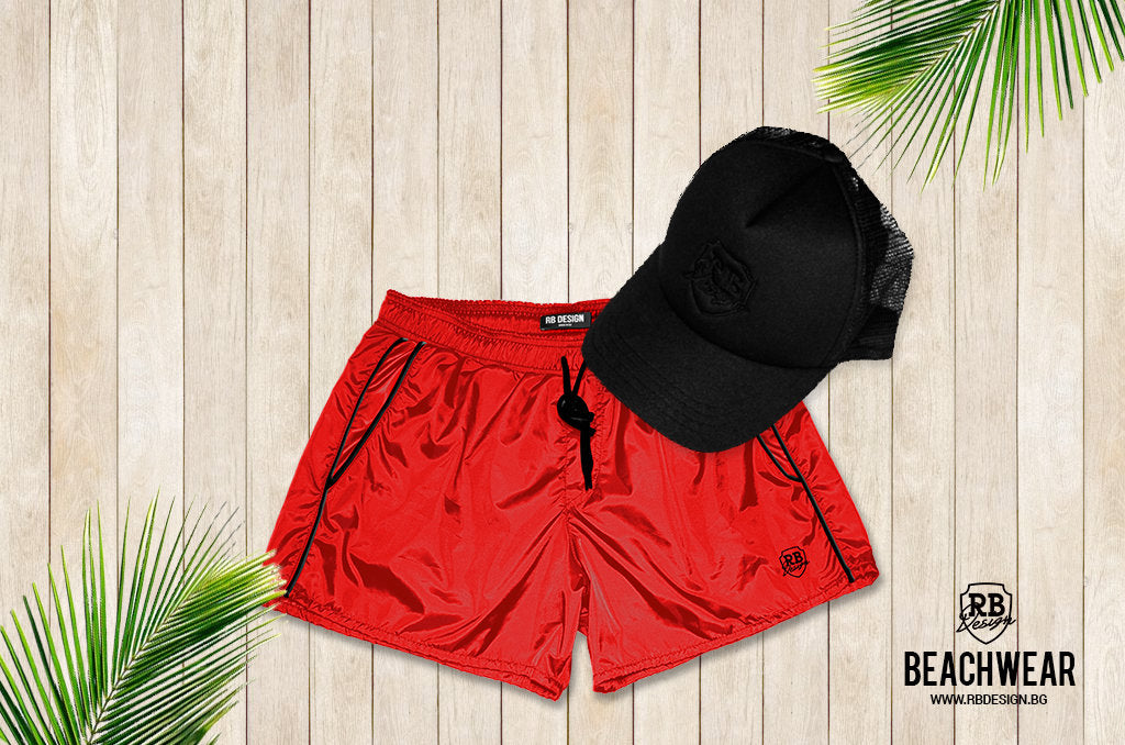 mens red swimming shorts bundle with black hat