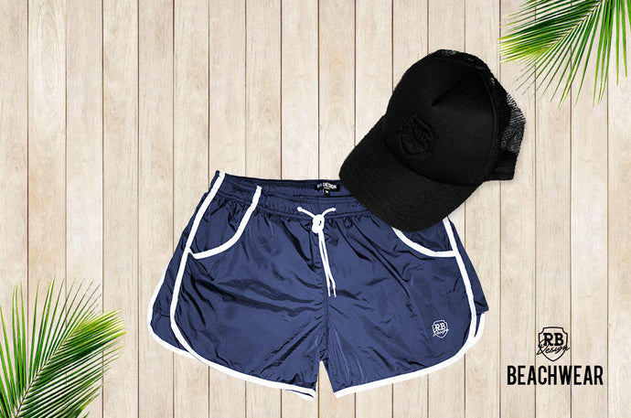 Bundle Dark Blue Mens Swimming Shorts + Black Hat BW02DBB