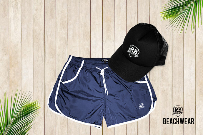 Bundle Dark Blue Mens Swimming Shorts + Black Hat White Logo BW02DBBW