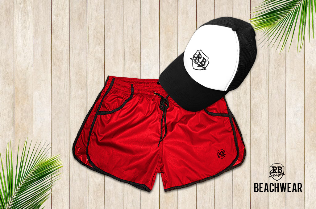 Bundle RED Mens Swimming Shorts + Black and WhiteHat BW02BWH