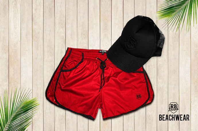 Bundle RED Mens Swimming Shorts + Black Hat BW02BH