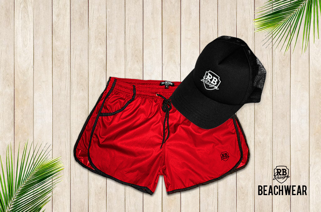 Bundle RED Mens Swimming Shorts + Black Hat BW02BHW