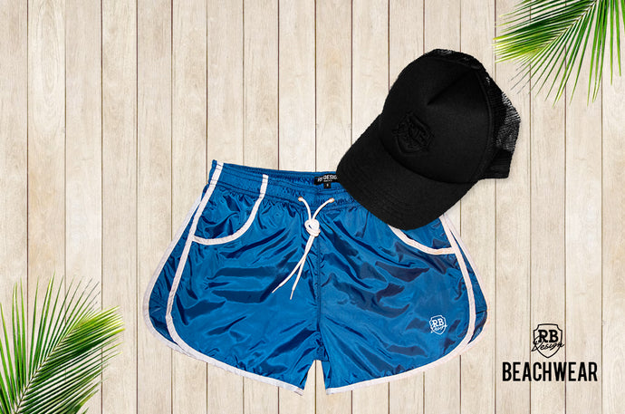 Bundle Sky Blue Mens Swimming Shorts + Black Hat BW02SBB