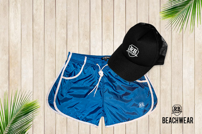Bundle Sky Blue Mens Swimming Shorts + Black Hat White Logo BW02SBBW
