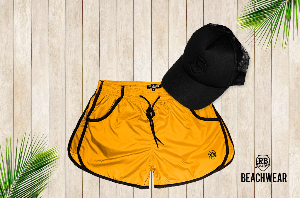 Bundle Yellow Mens Swimming Shorts + Black Hat BW02YB