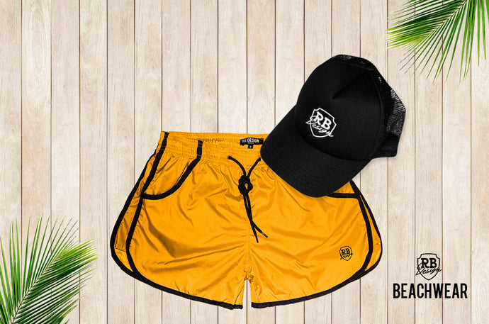 Bundle Yellow Mens Swimming Shorts + Black Hat White Logo BW02YBW