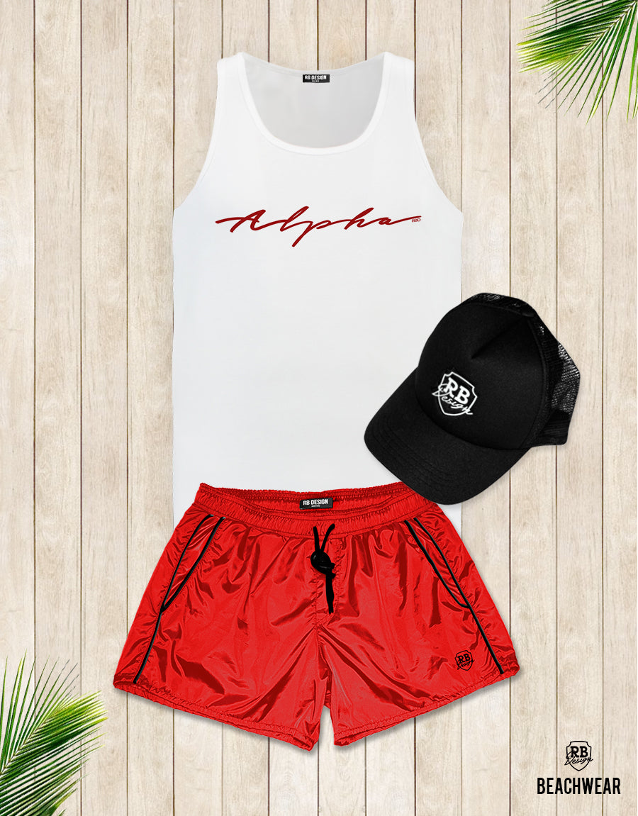 Bundle 3 - Red Beach Shorts + Black Hat White Logo + Tank Top MD885