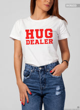 "Women's T-shirt With Sayings ""Hug Dealer"" WTD17 Red"