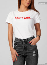 "Women's T-shirt With Sayings ""Don't Care"" WTD25"