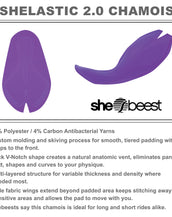 Shebeest Shelastic 2.0 Chamois. 96% Polyester 4% Antibacterial Yarn blend. Custom molding. Tiered padding.