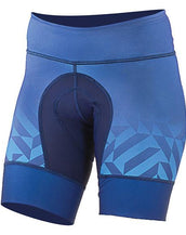 Shebeest Petunia Kleo Fade Shorts in a  dark blue fade color. Close up of front view.