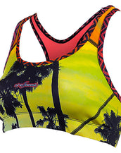 Shebeest sports bra in happy hour print front view