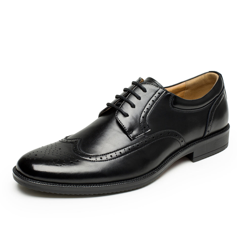 d4a1c111ee0a Men's Synthetic Leather Oxford Brogue Wingtip Lace Up Dress Shoes Black