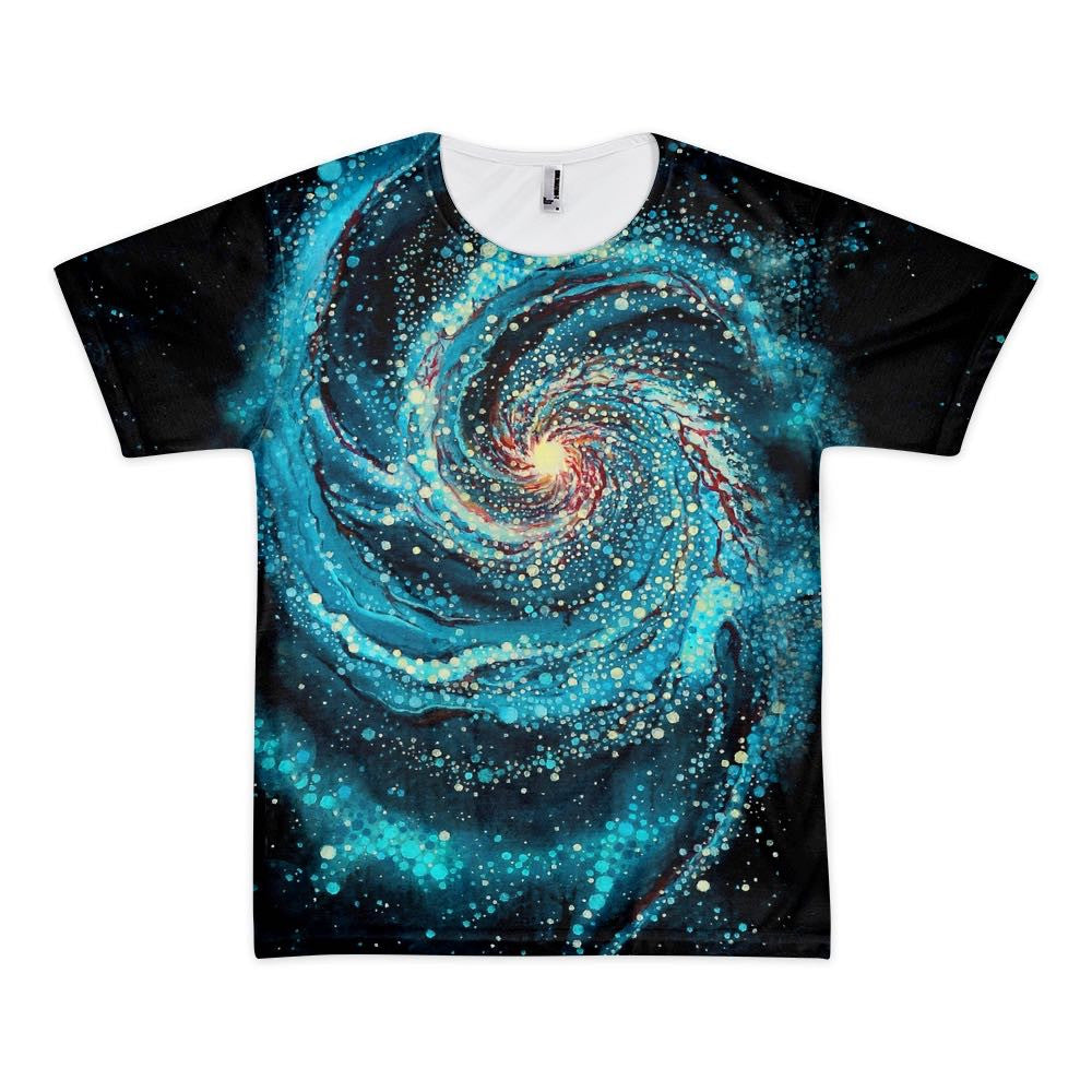 8cff486f1 Men's space themed t-shirt. Featuring an all over print of an original oil  ...