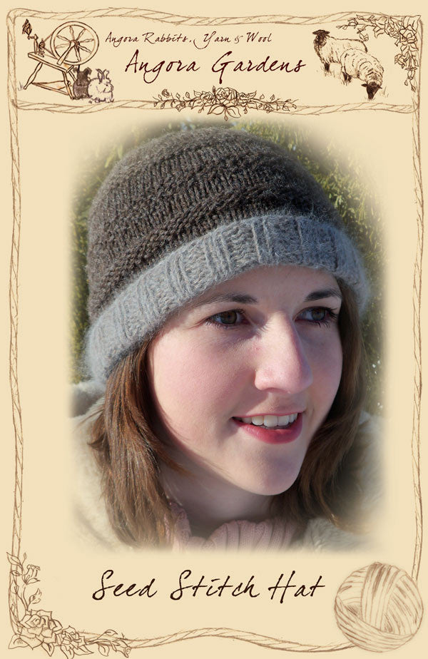 Seed Stitch Hat Pattern $4 Free Shipping