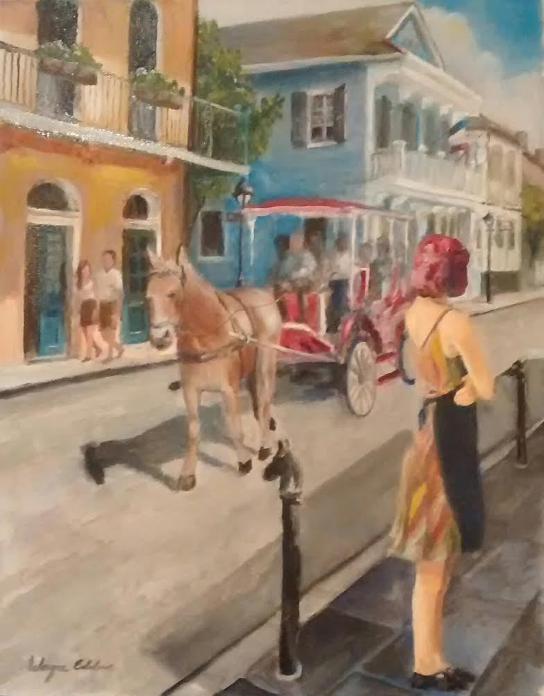 Waiting  Original Oil New Orleans Wayne Edelen