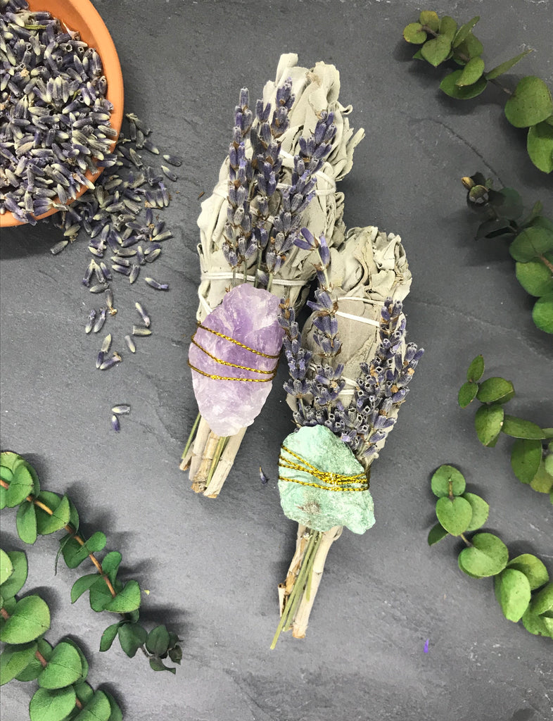 Lavender Smudge Bundle with Crystal