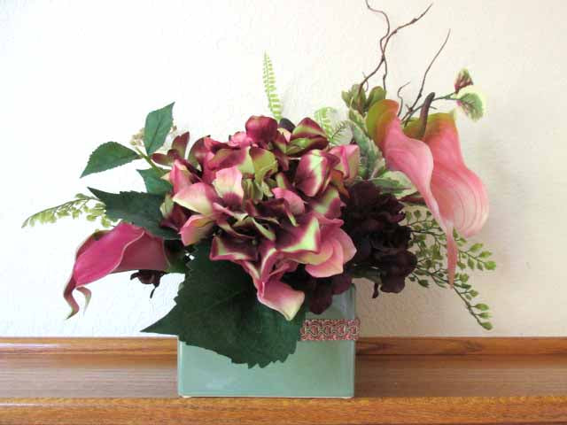 Burgundy, Dark Plum, Pink and Green Calla Lily, Hydrangea, Anthurium and Succulent Floral Arrangement - Odyssey Creations