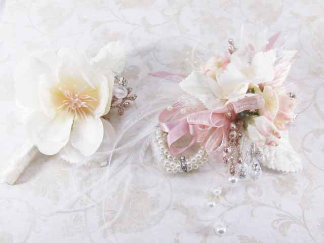 Blush and Ivory Small and Simple Young Men's Boutonnierre - Odyssey Creations