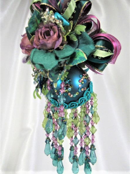 Peacock Green Teal, Purple and Gold Small 7 Inch Beaded Victorian Ornament - Odyssey Creations