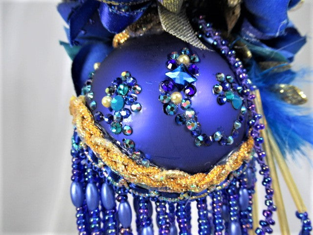 Blue Oceans Golden Sands 10 Inch Beaded Victorian Ornament - Odyssey Creations