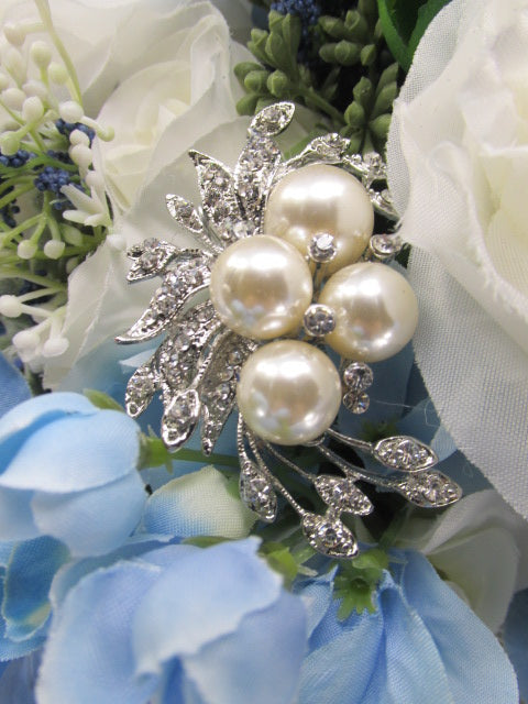 Blue Serenity Large Cascading Beaded Bridal Bouquet with Crystal and Pearl Brooch Beaded Fringe - Odyssey Creations