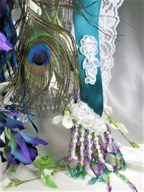 Peacock Victorian Style Beaded Bridal Cascading Brooch Bouquet with Blue Heart Brooch - Odyssey Creations