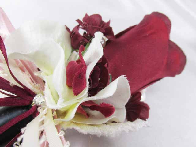 Burgundy and Ivory Orchids Rhinestone Bracelet Wrist Corsage and Boutonniere Prom Set - Odyssey Creations