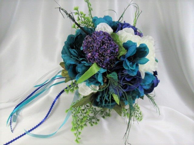 Peacock Small Bridal Bouquet in Blue, Purple Teal, White and Fern Green with White Pearl Handle and Cascading Ribbons - Odyssey Creations