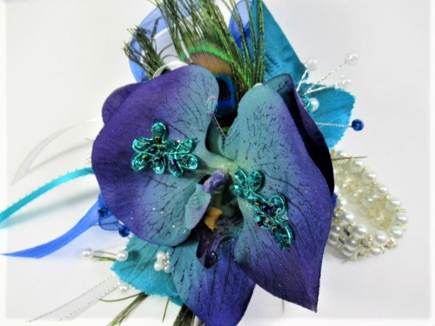 Peacock Prom Set with Pearl Bracelet Orchid Wrist Corsage and Silver Magnetic Boutonniere - Odyssey Creations