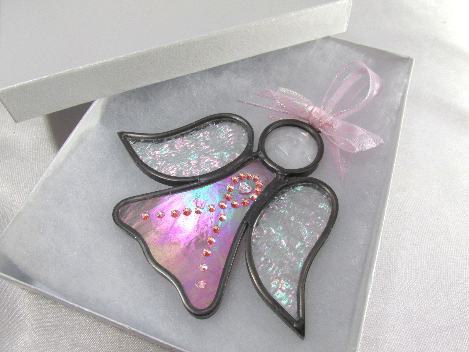 Awareness Ribbon Angel Stained Glass Ornament or Suncatcher - MADE TO ORDER - Odyssey Creations