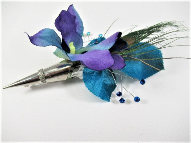Peacock Feather and Orchid Boutonniere in Silver Pin On Holder in Blue, Purple and White - Odyssey Creations