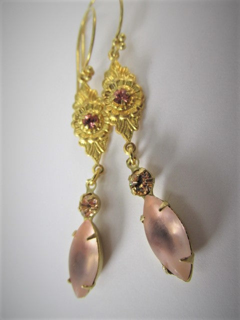 Vintage Style Blush Peach Rose Gold Crystal Earrings on 22k Gold Vermeil Wires - Odyssey Creations
