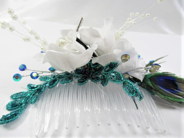 Peacock Feathers, White Pearls and Roses Bridal Hair Comb - Odyssey Creations