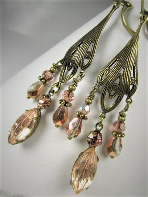 Vintage Style Antique Brass and Blush Rose Gold Crystal Chandelier Earrings on Lever Backs - Odyssey Creations