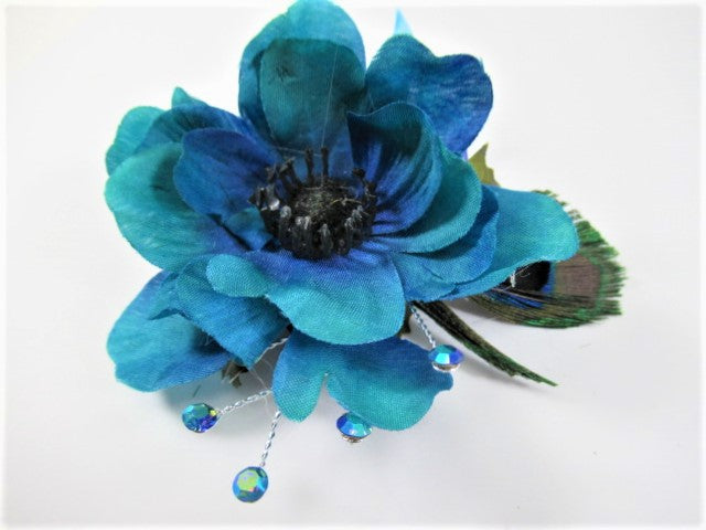 Blue and Teal Poppy Peacock Feather Bridesmaid Hair Clip with Crystal Accents - Odyssey Creations