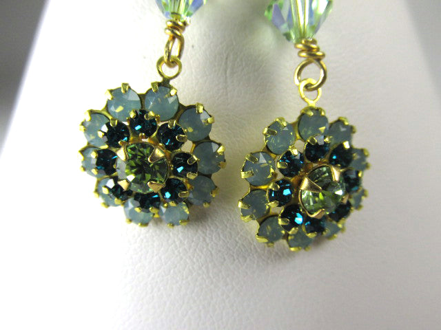 Swarovski Crystal Pacific Opal and Aquamarine Vintage Style Earrings - Odyssey Creations