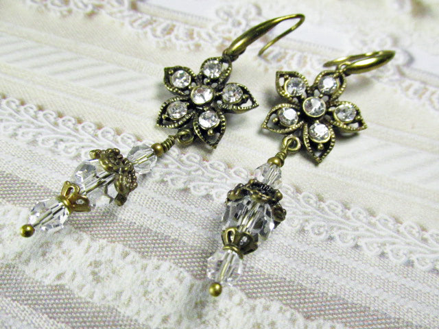 Vintage Inspired Antique Filigree Brass and Crystal Clear Flower Earrings, Long Brass Earrings, Vintage Style Earrings - Odyssey Creations