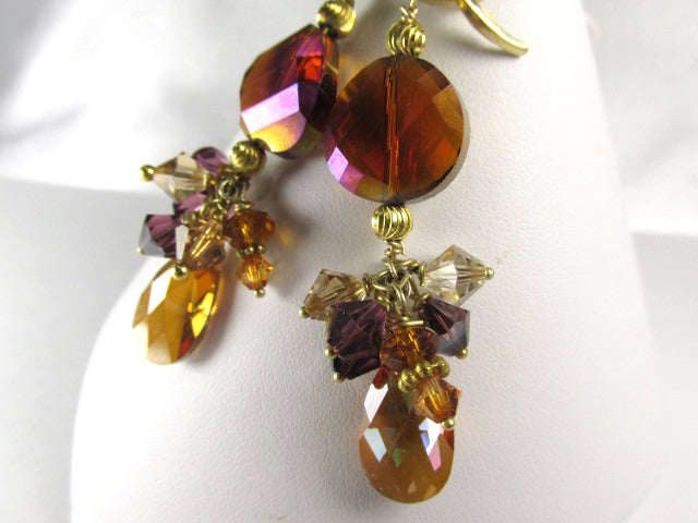 Red Rust and Purple Swarovski Crystal Earrings with all 14k Gold Fill Electroplated Findings on 14k GF Leverbacks - Odyssey Creations