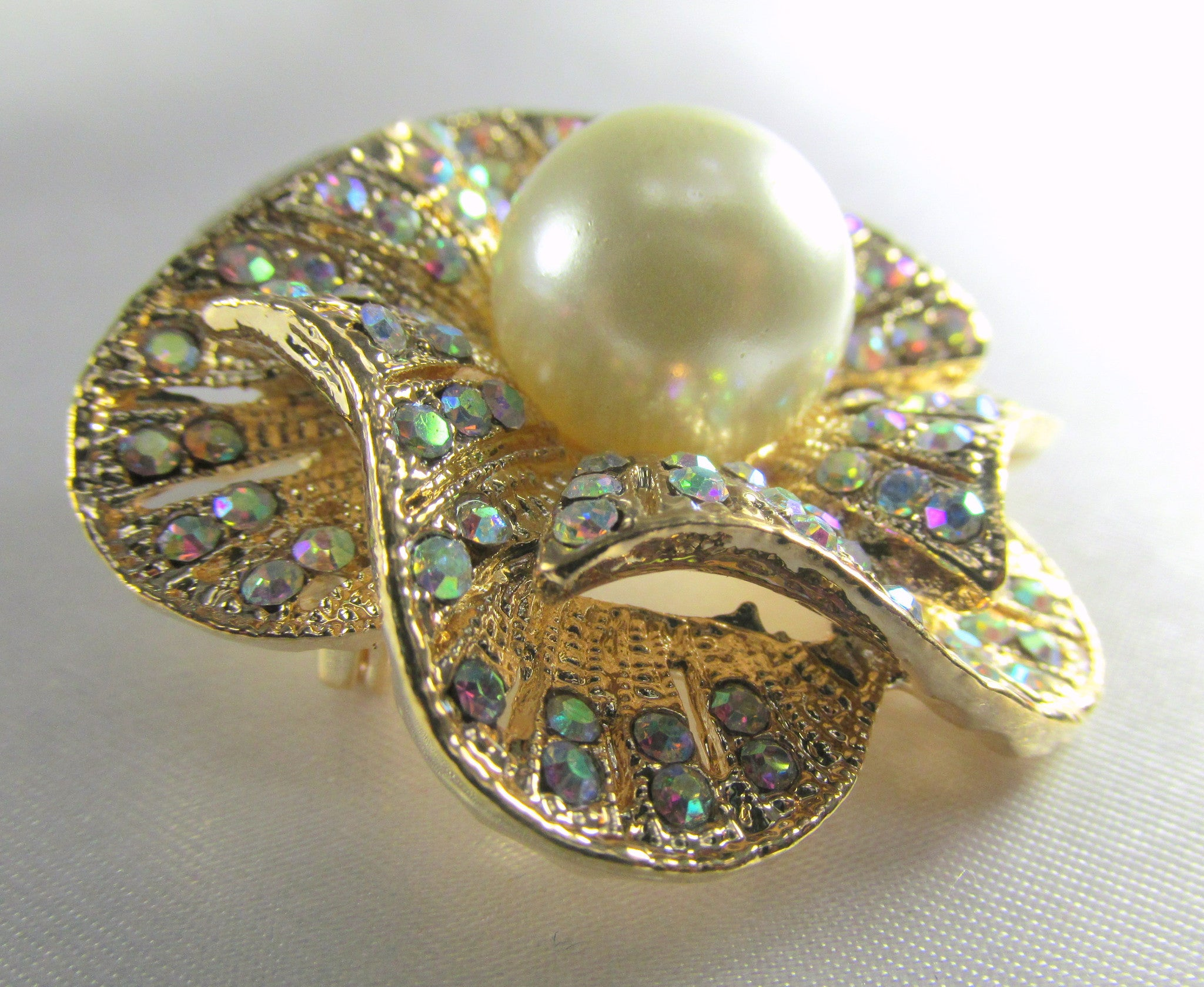 Crystal AB and Pearl Rose 1.75 inch Brooch on Gold - Odyssey Cache - 3