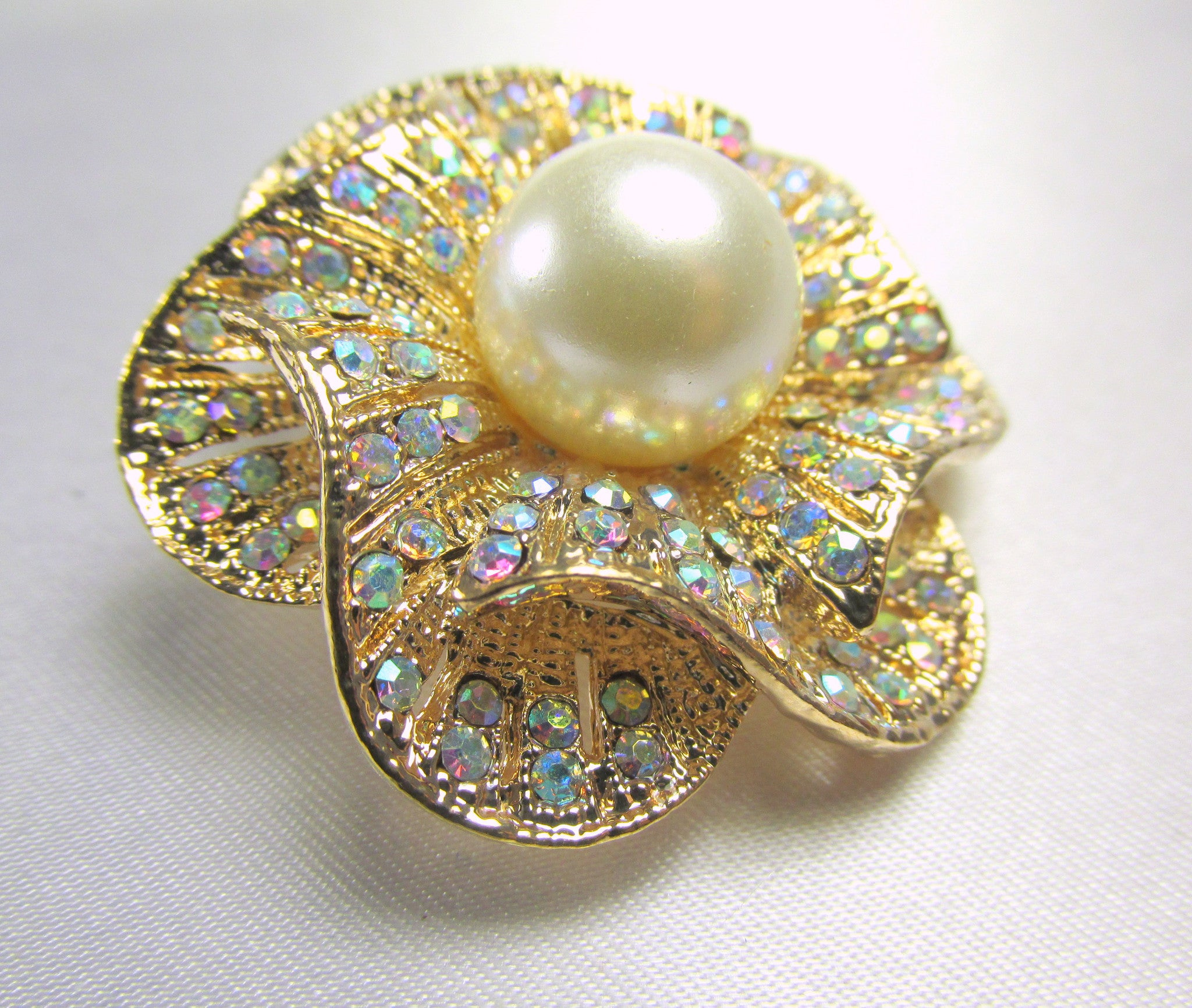 Crystal AB and Pearl Rose 1.75 inch Brooch on Gold - Odyssey Cache - 2