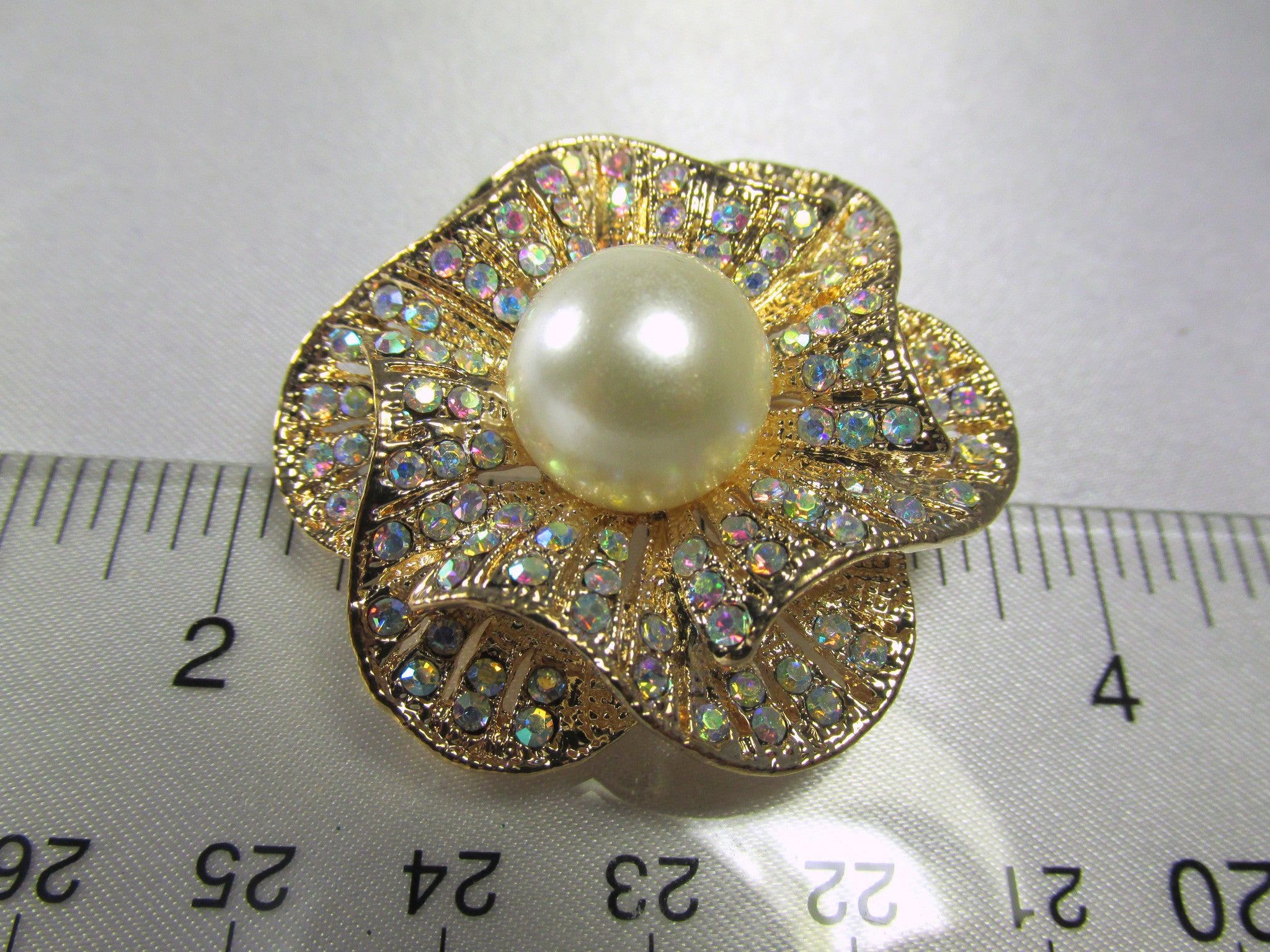 Crystal AB and Pearl Rose 1.75 inch Brooch on Gold - Odyssey Cache - 5